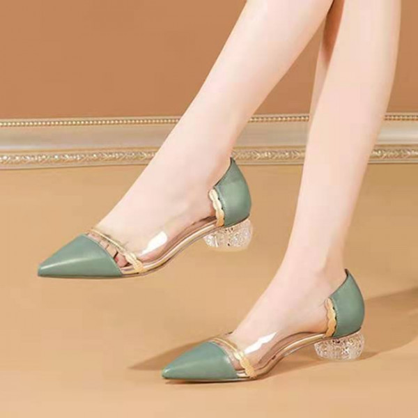 Ladies Transparent Thick Heel Pointed Four Season Shoes