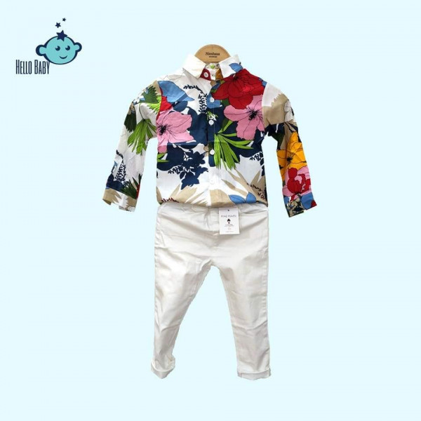 Flower Print Kids Shirt Pants Set