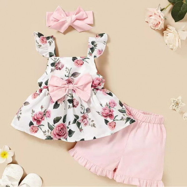 Baby Rose Flower Print Pink Frock