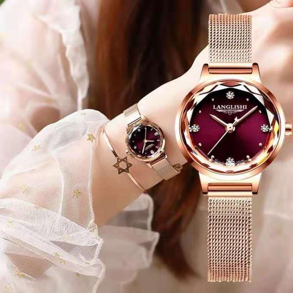 Korean Fashion Maroon Classic Ladies Watch