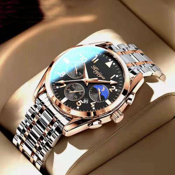 Luminous Black Classic Wrist Watch