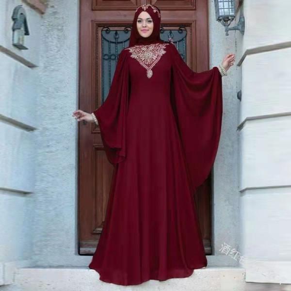 Printed High Waist Muslim Islamic Dress