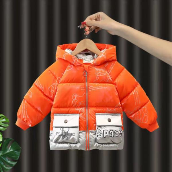 Boys' Plus Velvet Thick Down Padded Jacket. Baby Disposable Padded Jacket Medium-Length