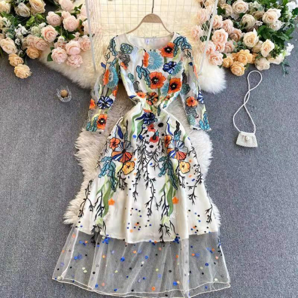 Ladies Embroidery Long Skirt Dress